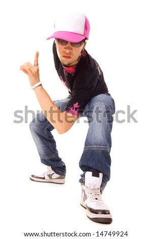 cool picture of hip hop guy. isolated on white background