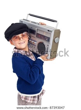 Cool retro kid with cassette player and sunglasses - isolated