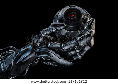 Cool robot hand with camera ball / Futuristic artificial arm that holds stylish web cam on black. 3d max render