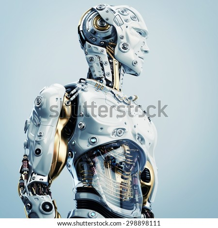 Cool Robot Upper Body In Side View / Artificial Man Stock ...