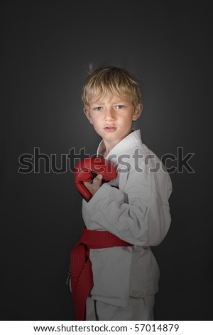 cool serious focused little boy in a karate suit, red belt and pads