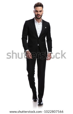 cool sexy elegant man with open collar is walking , isolated on white background #1022807566