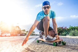 Cool skater doing a stunt on his skateboard