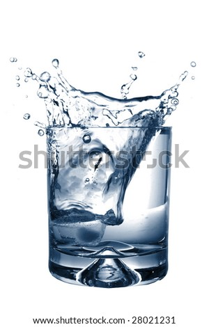 cool splashing water with ice cube isolated on white background