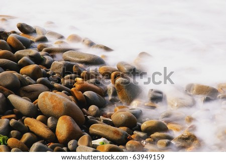 cool stones on the shore - stock photo