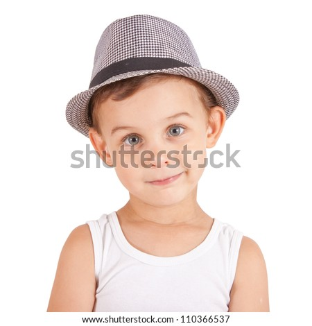 Cool stylish little boy in a hat. Isolated on white background. Clipping paths included.