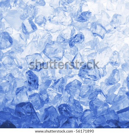 cool summer or winter ice cube background with copyspace - stock photo