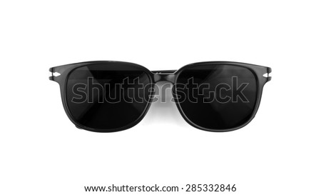 Cool sunglasses with black plastic frame isolated on white background, top view.
