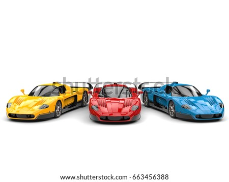 Cool super concept cars in primary base colors with black details - 3D Illustration #663456388
