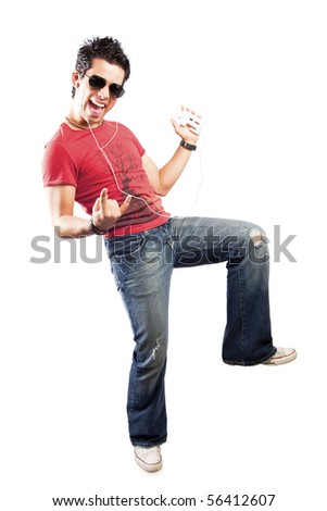 cool teenager listening to music with headphones