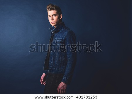 Shutterstock Cool vintage 1950s fashion man in jeans.