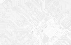 Cool white texture of printed circuit board. Digital tech background. Information technology pattern of computer mainboard.