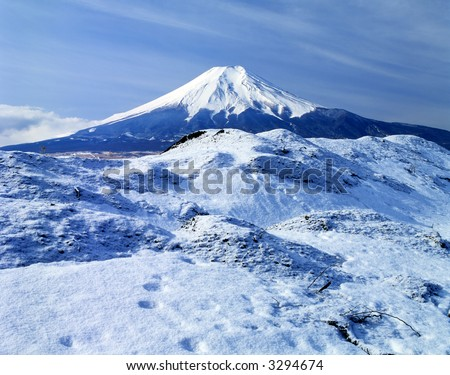Cool winter view of Mount Fuji