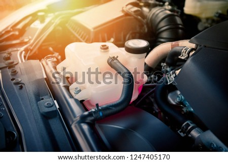coolant car engine detail / close up of machine new engine motor checking and cleaning for deliver customers in the car service