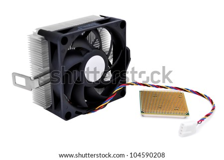 cooler and cpu  on white background