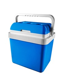 Cooler box for a picnic, isolated on white.