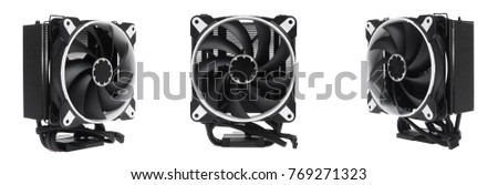 Cooler CPU fan with heat sink and cable , isolated on white background #769271323
