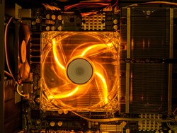 cooling fan with backlight in the computer system unit, cooling the computer air, repair and upgrade, cooling computer components
