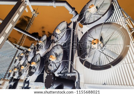 Cooling system for power transformer. Fans and forced cooling radiators.