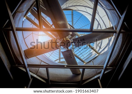 Cooling tower air conditioner circle of fan electric control HVAC in industry plantation. Stock photo ©