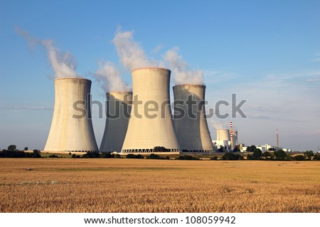 cooling tower of nuclear power plant and agriculture field