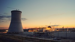 Cooling tower of nuclear power plant under construction at Russia