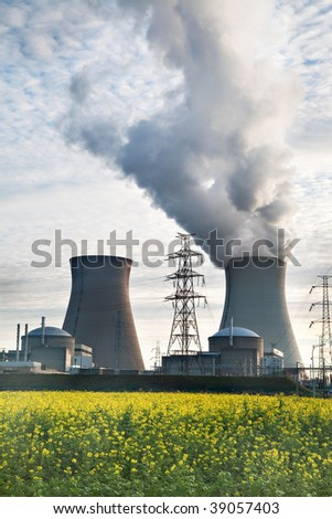 cooling towers of a nuclear power plant electrical energy