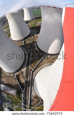 Cooling towers of a power plant
