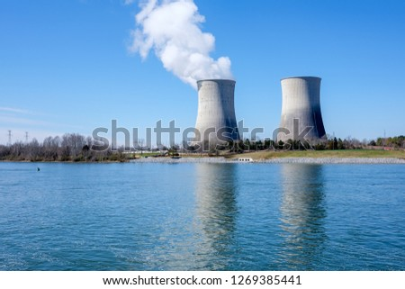 Cooling towers, Watts Bar Nuclear Plant, Tennessee River, Tennessee, USA