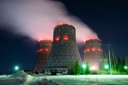 cooling towers. winter. night view