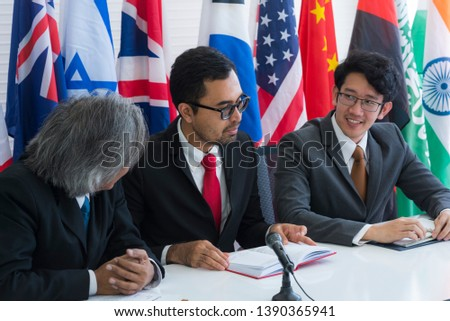 Cooperation of international businessmen, International flag #1390365941