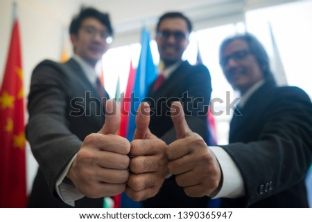 Cooperation of international businessmen, International flag #1390365947
