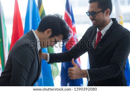 Cooperation of international businessmen, International flag #1390392080