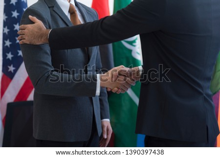 Cooperation of international businessmen, International flag #1390397438