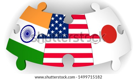 Cooperation of USA, Japan and India. Puzzles with flags of USA, Japan and India together on white surface. The concept of coincidence of interests in geopolitics. Isolated. 3D Illustration