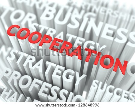 Cooperation Word Cloud Concept. - stock photo