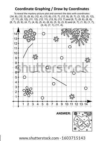 Coordinate graphing, or draw by coordinates, math worksheet with St Valentine's Day heart and bow: To reveal the mystery picture plot and connect the dots with given coordinates. Answer included.