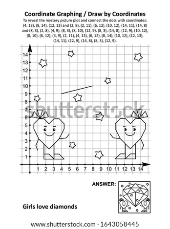 """Coordinate graphing, or draw by coordinates, math worksheet with St Valentine's Day mystery picture """"Girls love diamonds"""": To reveal the mystery picture plot and connect the dots."""