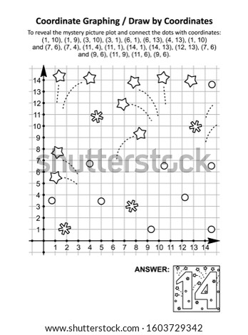 Coordinate graphing, or draw by coordinates, math worksheet with St Valentine's Day number fourteen: To reveal the mystery picture plot and connect the dots with given coordinates. Answer included.