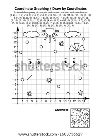 Coordinate graphing, or draw by coordinates, math worksheet with St Valentine's Day two friendly hearts: To reveal the mystery picture plot and connect the dots with given coordinates. Answer included