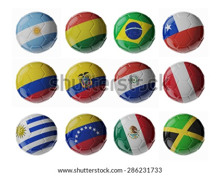 Shutterstock Copa America 2015. Set of 3d soccer balls with flags.
