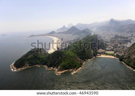 Copabana beach and Praia Vermelha in Rio de Janeiro, aerial view
