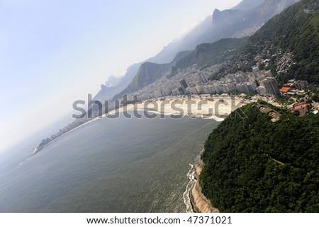 Copacabana beach and morro de leme in Rio de Janeiro, aerial view