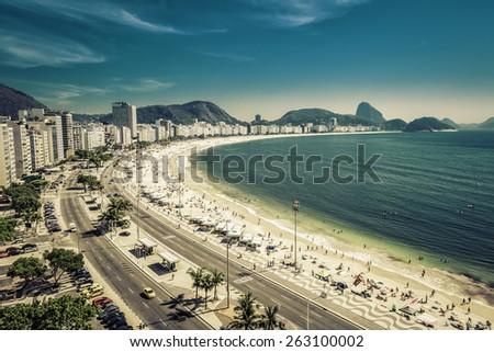 Copacabana Beach and Sugar Loaf Mountain in Rio de Janeiro,Brazil