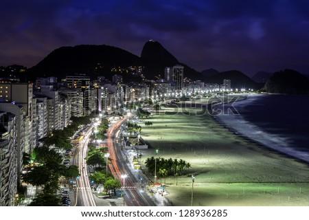 Copacabana Beach at night in Rio de Janeiro