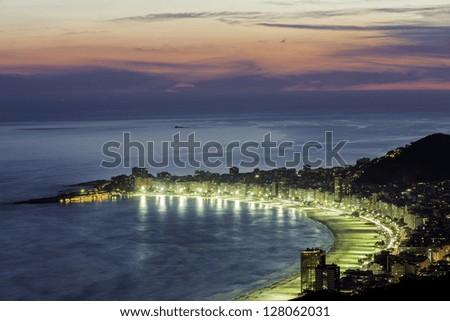 Copacabana Beach at night in Rio de Janeiro, Brazil