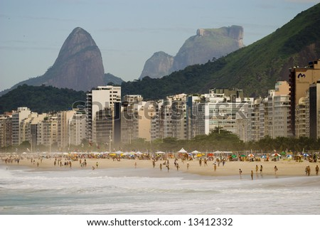 Copacabana beach with gavea's Rock at background