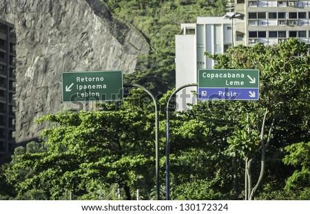 Copacabana traffic sign in Rio de Janeiro, Brazil - stock photo