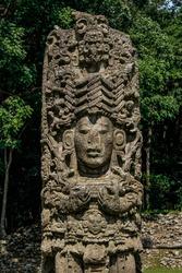 Copan Mayan Ruins Statue detail