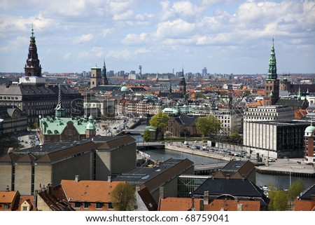 Copenhagen city from above. Denmark. A view to the Parliament, Christiansborg (the big spire, upper, left side).